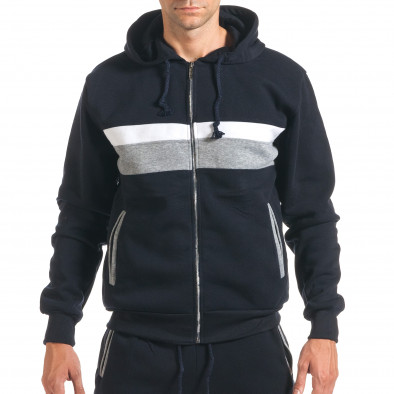 Мъжки син спортен комплект със сива и бяла лента it160916-65 4
