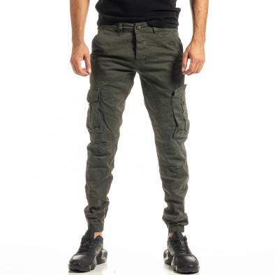 Мъжки зелен карго панталон с ластик на крачолите tr300920-4 2