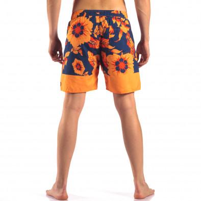 Мъжки сини бански с оранжеви цветя it150616-19 3
