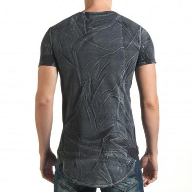 Удължена черна тениска с принт звезди и номер Millionaire 4