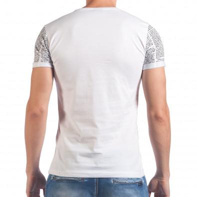 Мъжка бяла тениска с вестникарски принт Eksi 4
