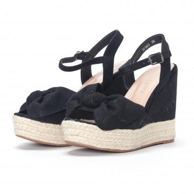 Дамски черни сандали на платформа it230418-40 3
