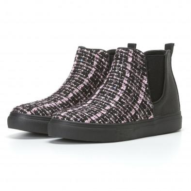 Дамски черни боти с розово-черна текстилна част it110817-4 3