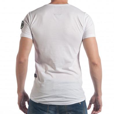 Мъжка бяла тениска с камуфлажен надпис Breezy 4