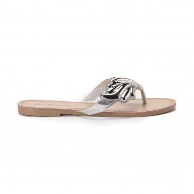 Дамски чехли с метална сребриста декорация it010618-16 2