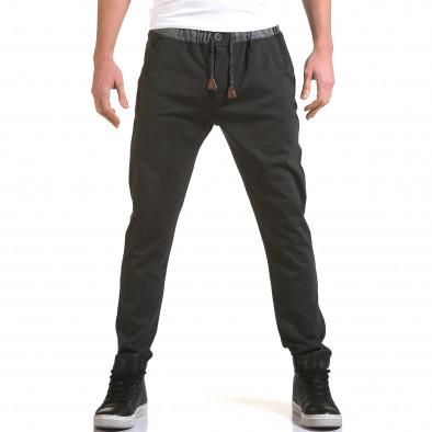 Мъжки тъмно сив панталон с контрастен ластик it090216-31 2