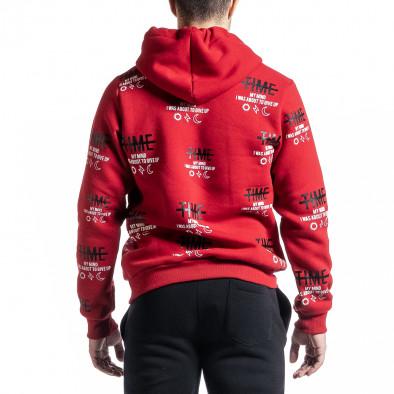 Плътен червен мъжки суичър с надписи it231220-22 3