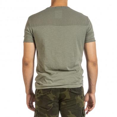 Текстурирана зелена тениска с връзка it240621-6 3