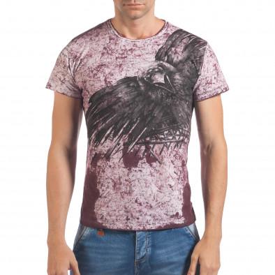 Мъжка червено-бяла тениска с голям орел il060616-44 2