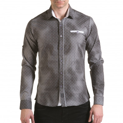 Мъжка сива риза с малки бели детайли il170216-104 2