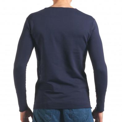 Синя мъжка блуза с декоративни скъсвания Wilfed 4