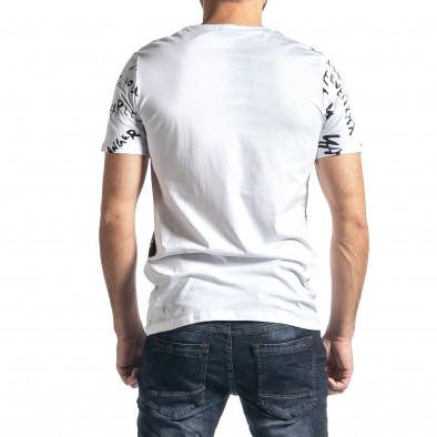 Мъжка бяла тениска с принт tr010221-14 3