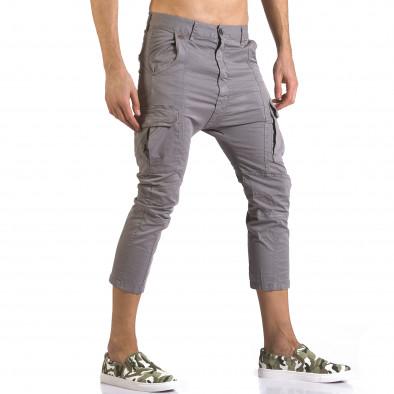 Мъжки сив панталон 7/8 с джобове на крачолите it110316-32 4