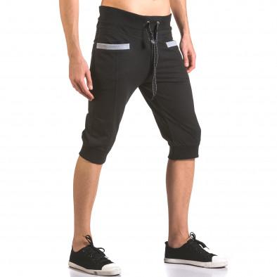 Мъжки черни къси потури с контрастни джобове ca050416-35 4