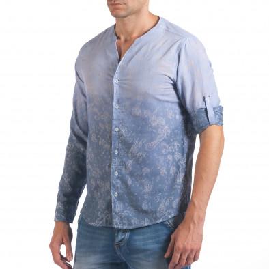 Мъжка синя риза с преливащо оцветяване и фигурална шарка il060616-114 4