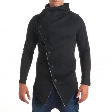 Мъжки черен удължен суичър с асиметрично закопчаване it240816-53 2