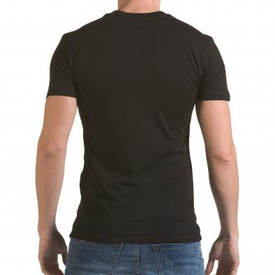 Мъжка черна тениска със сребристо-син принт il170216-42 3