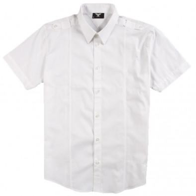 Бяла мъжка риза Gnious с къс ръкав и пагони 120213-2 2