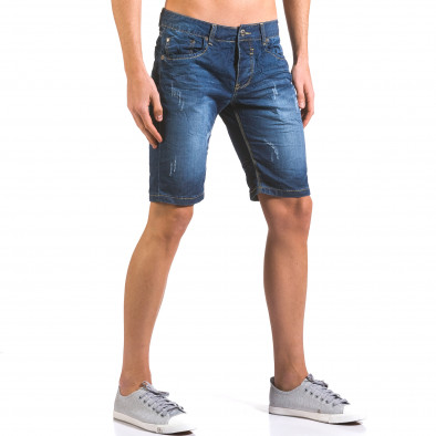 Мъжки тъмно сини къси дънки с малки скъсвания it160316-13 4