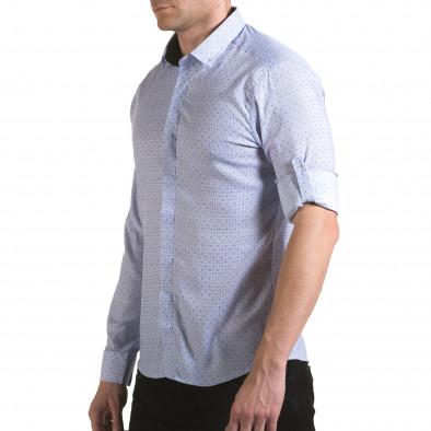Мъжка светло синя риза с малки детайли и скрити копчета il170216-112 4