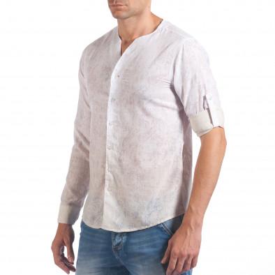 Мъжка бяла риза с преливащо оцветяване и фигурална шарка il060616-116 4