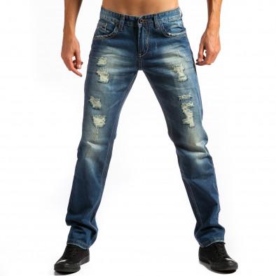 Мъжки дънки прав модел с декоративни скъсвания  ca171014-41 3