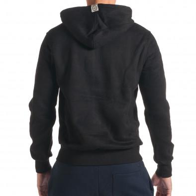 Мъжки черен суичър с малка емблема it240816-28 3