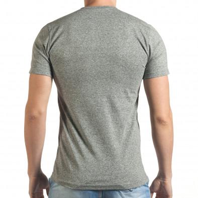 Мъжка сива тениска с голямо кръгло деколте Madmext 4