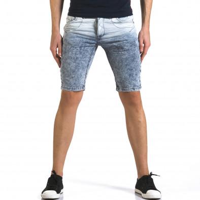 Мъжки светло сини къси дънки с преливащ цвят it110316-66 2