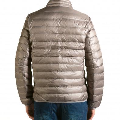 Мъжко бежово-сиво яке със синя подплата it110915-3 3