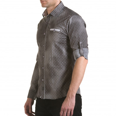 Мъжка сива риза с малки бели детайли il170216-104 4