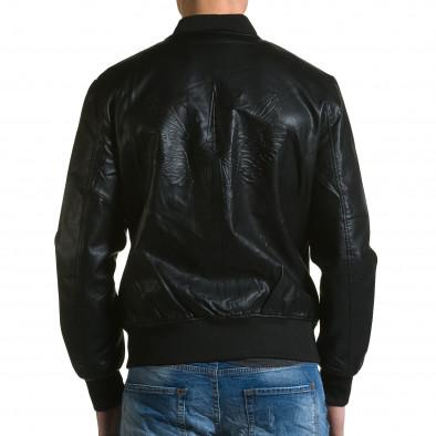 Мъжко черно кожено яке с релефни звезди ca190116-33 3