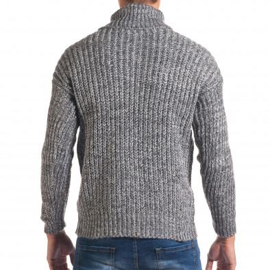 Мъжки синьо-бял зимен пуловер с поло яка it170816-26 3