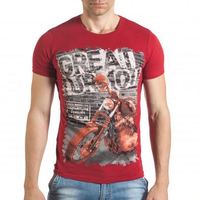 Мъжка червена тениска с рокерска щампа il140416-52 2
