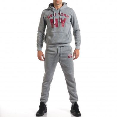 Мъжки сив спортен комплект с надпис it160916-58 2