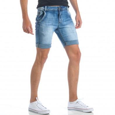 Мъжки къси дънки с италиански джобове it190417-58 4