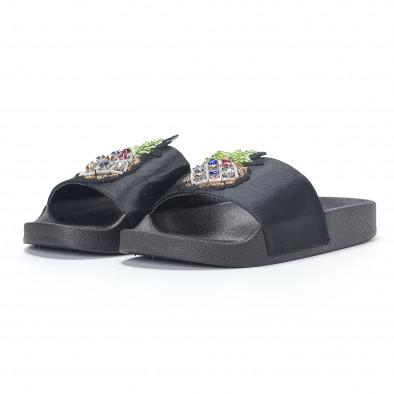 Черни дамски чехли с ананас it230418-35 3