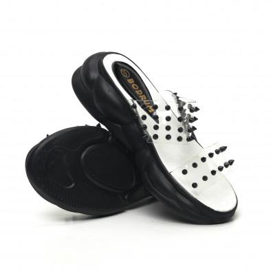 Дамски прозрачни чехли черни шипове tr180320-9 4