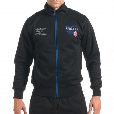 Мъжки черен спортен комплект с надписи it160916-73 4