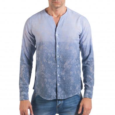 Мъжка синя риза с преливащо оцветяване и фигурална шарка il060616-114 2