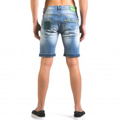 Мъжки къси дънки с двуцветни пръски боя it160316-12 3