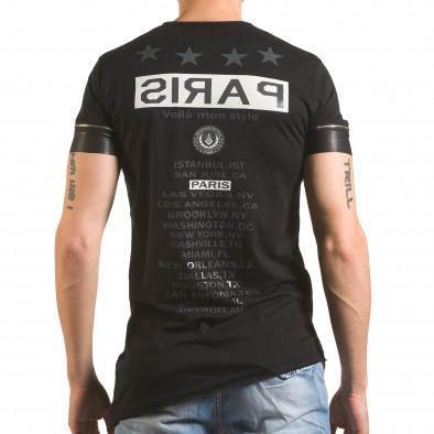 Черна тениска с ципове на ръкавите и принт tsf060416-4 3