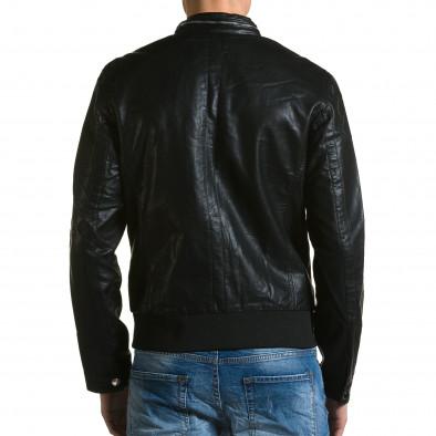 Мъжко черно кожено яке с копчета на яката X-Feel 5