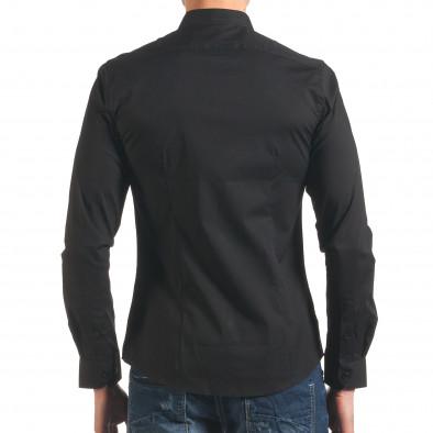 Черна мъжка риза с попска яка it250416-100 3