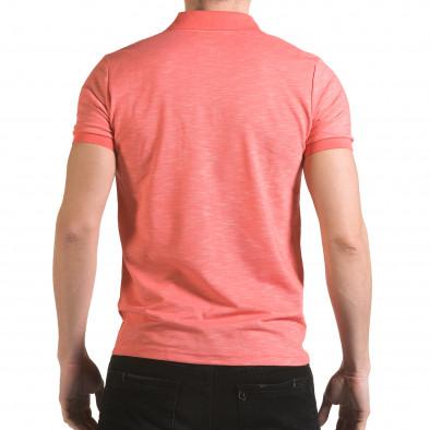 Мъжка розова тениска с яка с лого il170216-39 3