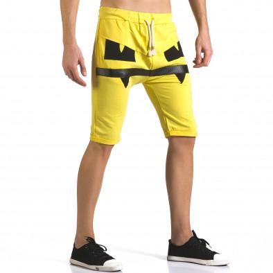 Мъжки жълти шорти с черни детайли it110316-75 4