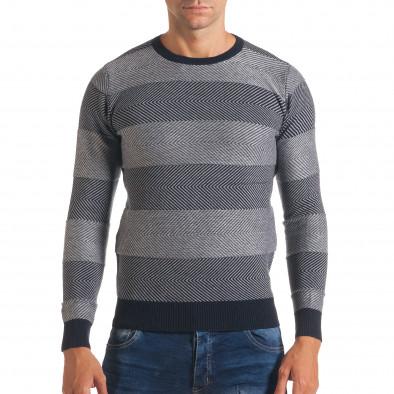 Мъжки синьо-сив пуловер с фини райета it170816-2 2