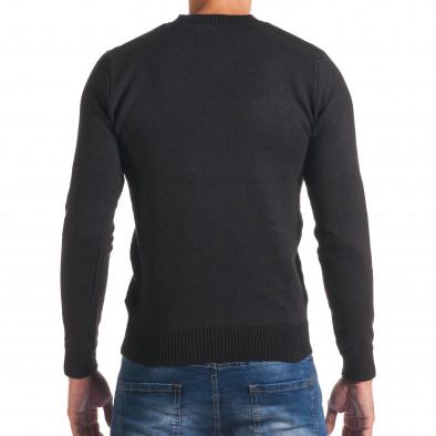 Мъжки черен пуловер с фигурална плетка it170816-5 3
