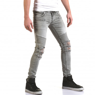 Мъжки сиви дънки с релефни шевове Justing 5