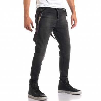 Мъжки сиви дънки със смъкнато дъно и тиранти it160916-20 4